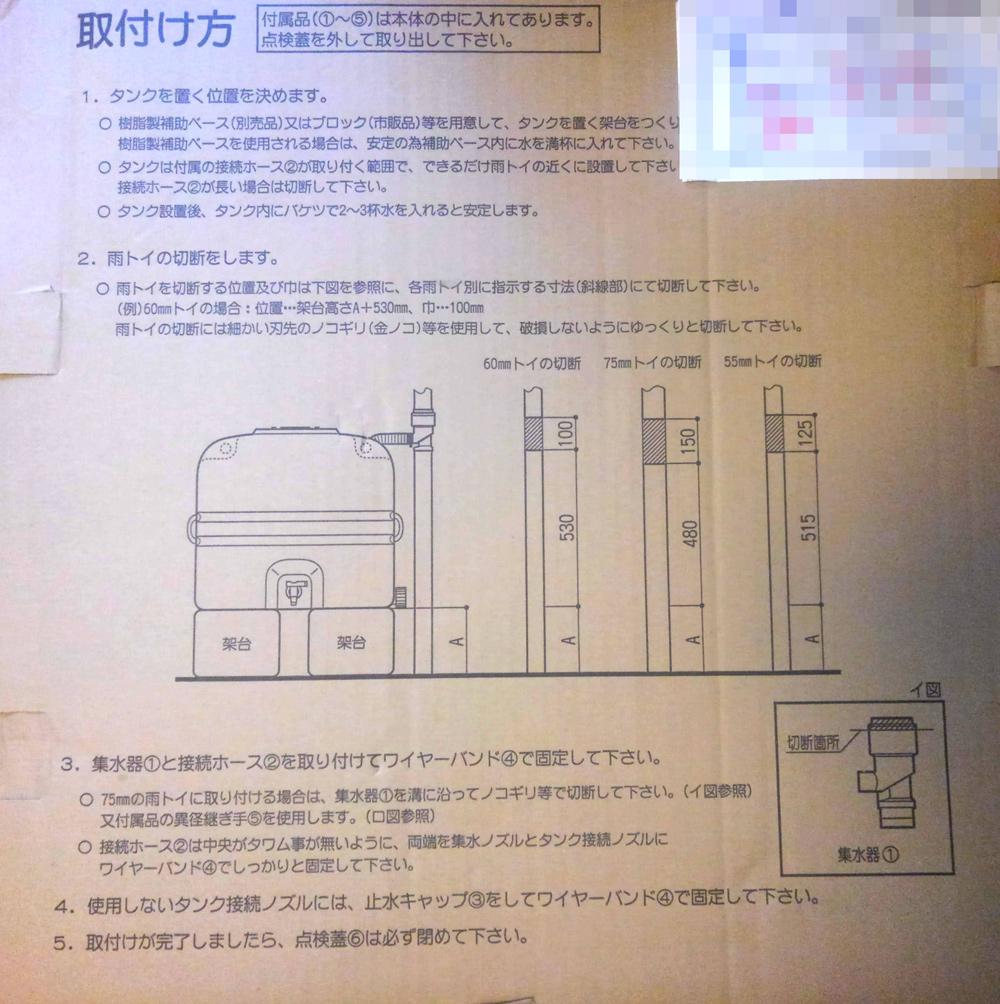ホームダムミニの梱包に記載された「取り付け方」